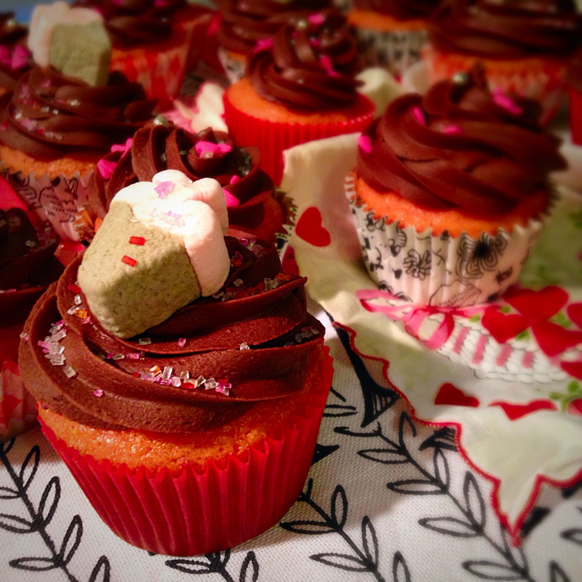 Jelly Filled Strawberry Cupcakes with Chocolate Strawberry Fudge ...